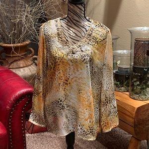 Gold animal print blouse